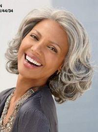 Grey Old Women Chin Length Wavy Good-looking Human Wigs