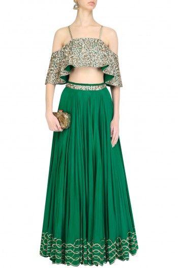 Mahima Mahajan Emerald Green Embroidered off Shoulder Blouse and Lehenga Skirt Set  #Mahima Mahajan #Ethnic #shopnow #ppus #happyshopping