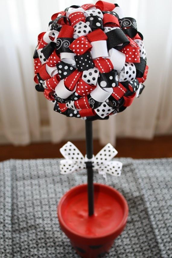My Ladybug Inspired Ribbon Topiary on Etsy :)