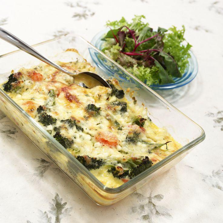 Gratinerte grønnsaker med egg og cottage cheese