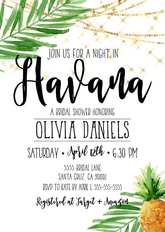 Havana Nights Party, Havana nights invitations, Cuban Style Party invitation By Palmpaperie