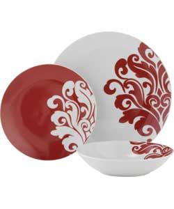 12 Piece Porcelain Damask Dinner Set - Cranberry.