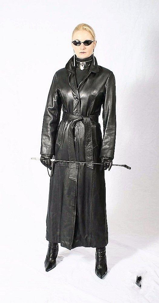 Genuine Leather Women Steampunk Coat Black Fetish Knee