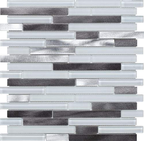 Glass and Metal Mosaic Tile Arctic Blend mesh mounted on a 12x12 fiberglass sheet for an easy installation. Its contemporary design allows for kitchen backsplash, bathroom - outside the shower area, a