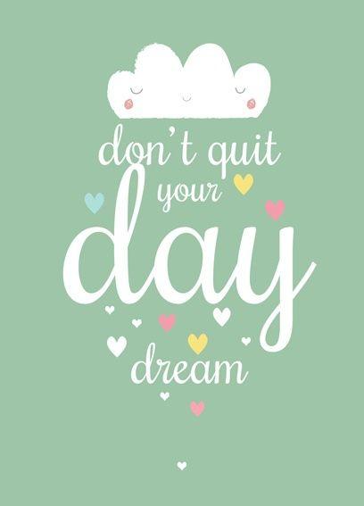 Poster wolkje day dream A3. Schattige poster met wolkje in prachtig mint / pastel groen met een tekst om nooit te vergeten! A3 formaat, 29,7 x 42 cm, geprint op 300g off set papier, FSC,