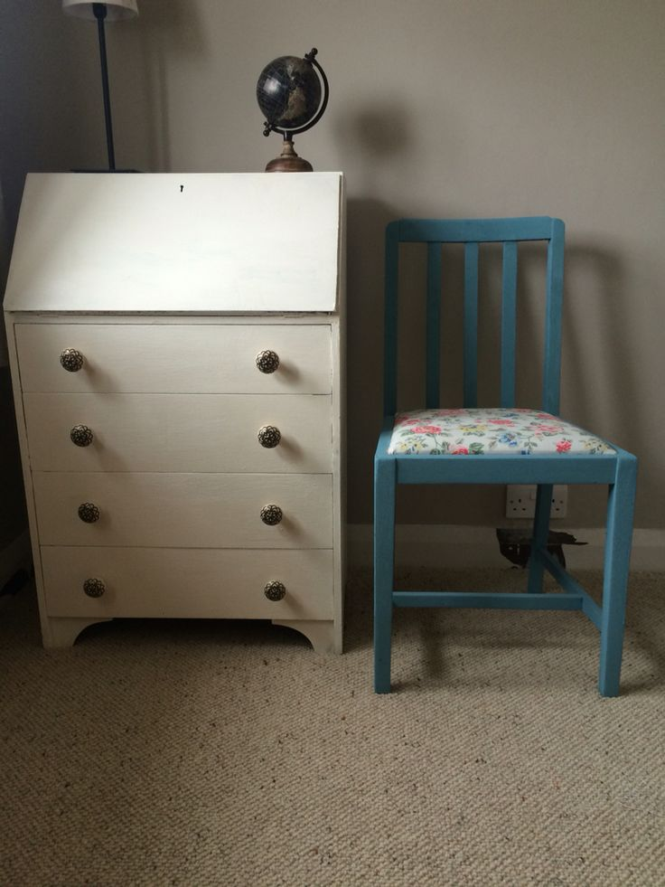 up-cycled writers desk and chair, chalk paint