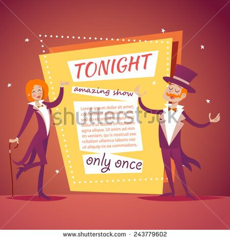 Host Lady Girl Boy Man in Suit with Cane and Cylinder Hat Ads Circus Show Icon on Stylish Background Retro Cartoon Design Vector Illustration