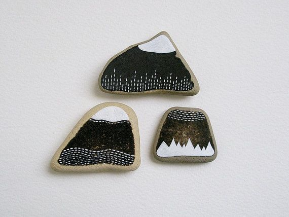 three handpainted beach pottery shards from lake erie // mountain range 5 // by natasha newton