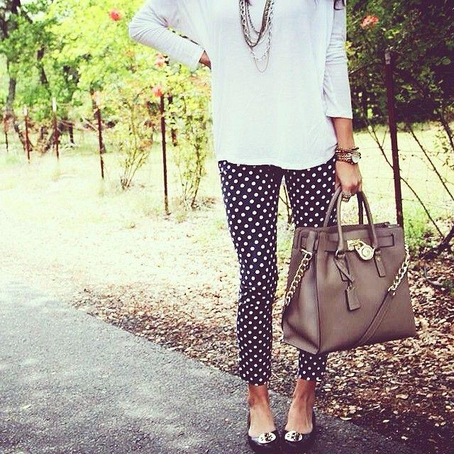 Teacher style- polka dot pants. Teacherlookbook.com