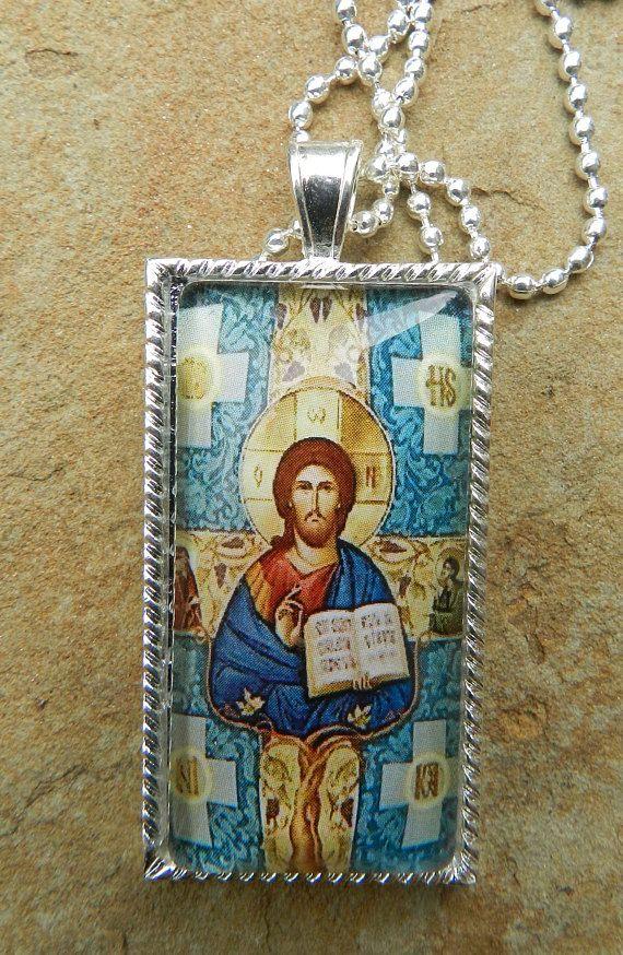 Jesus  Christ Glass Tile Pendant Necklace Religious Christian