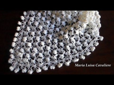 Scialle o foulard all'uncinetto punto strega e punto puff tutorial - YouTube