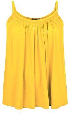 Womens canary yellow plus size yellow shirred trim cami from New Look - £7.99 at ClothingByColour.com