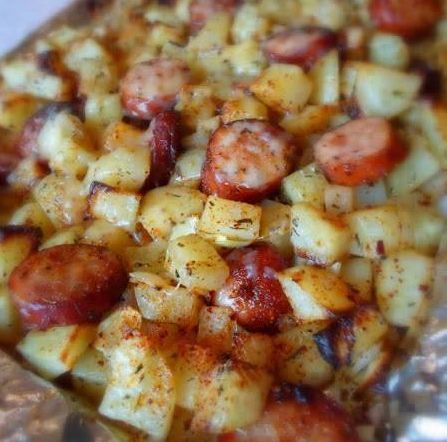 simply recipes: Oven Roasted Smoked Sausage and Potatoes