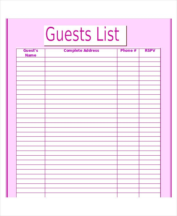 picture about Printable Wedding Guest List Template identified as Visitor Listing Template template Record template, Wedding ceremony