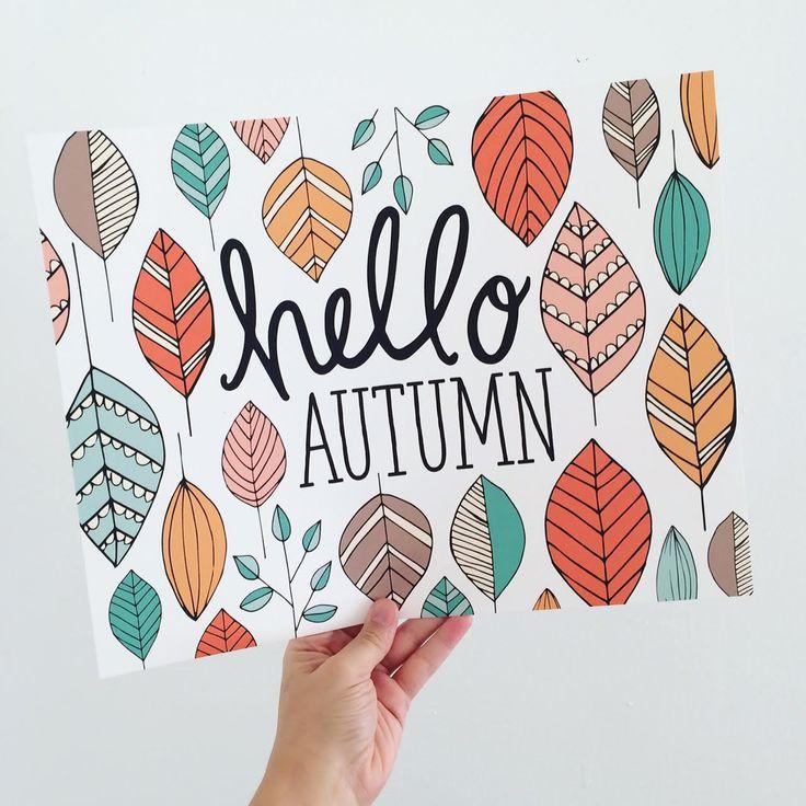 Herbst Kunst, Herbst Dekor, Hallo Herbst, Happy Fall, saisonale, geben Dank, Thanksgiving, Herbstlaub, Herbst Dekoration, Eicheln, Kunstdruck