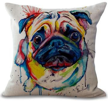 Factory Direct Supply French Bulldog Painting Series Cotton Linen Throw Pillow Home Room Decor Bedside Back Cushion