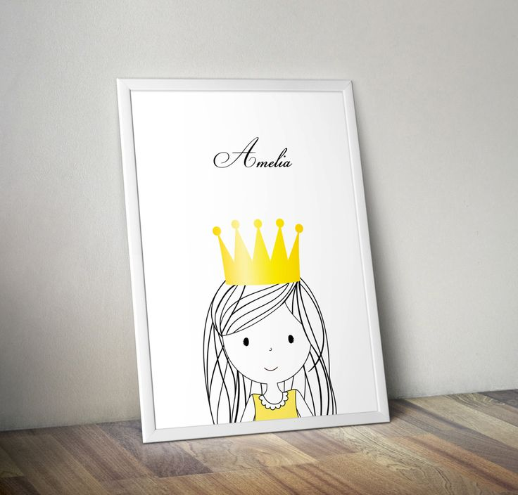 Personalized nursery prints poster with sweet little princess, wall art decor, kids room, simple design, for girl, graf poster by GrafPoster on Etsy