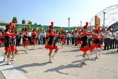 Milan Institute Martinitt e Stelline with majorette show at the EXPO 2015. Royalty Free Stock Photos