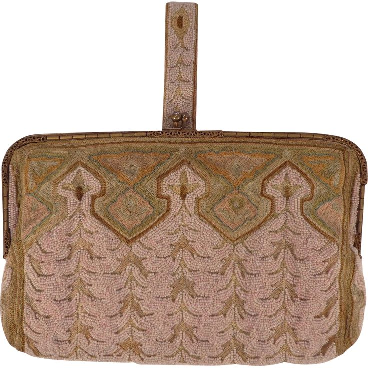Vintage french pink beaded and embroidered clutch purse