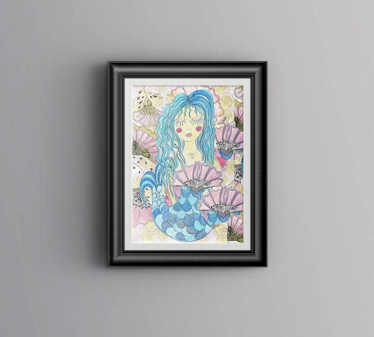 Mermaid A4 Poster Printable Files|Digital Down load| 3 files| Hand drawn Mermaid Nursery Decor, Beach theme Decor by PaperJamink on Etsy