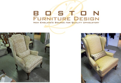 New Down filled Kidney Pillow and Reupholstered Wing Chair by Boston Furniture Design; New Englands Source for Quality Upholstery.  For more information call us at: (978) 270-4548 or visit us at: www.BostonFurnitureDesign.com Like us at: www.facebook.com/bostonfurnituredesign
