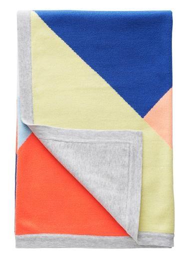 55% Cotton/ 45% Acrylic colour block blanket.