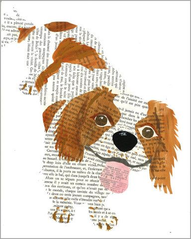 paste art collage piece dog portrait of a happy spaniel by denise fiedler for paste
