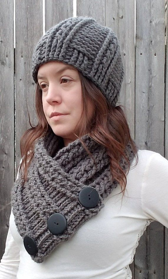 a39207db2b5 Crochet Scarf and Crochet Hat Set. Thick Cable Knit Hat with 3 Button Scarf.  Grey Chunky Beanie and Chunky Scarf Gift for Her