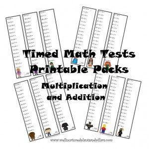 FREE Timed Math Tests Printable Packs- American Girl, Star