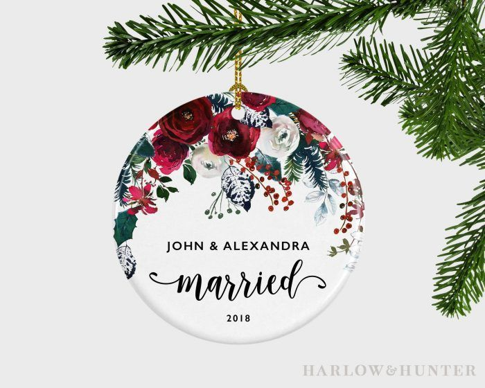 Personalized Floral Wedding Favor Ornament By Harlow And Hunter Gifts Junebug Weddings Ornament Wedding Favors Rustic Wedding Favors Floral Wedding Favors
