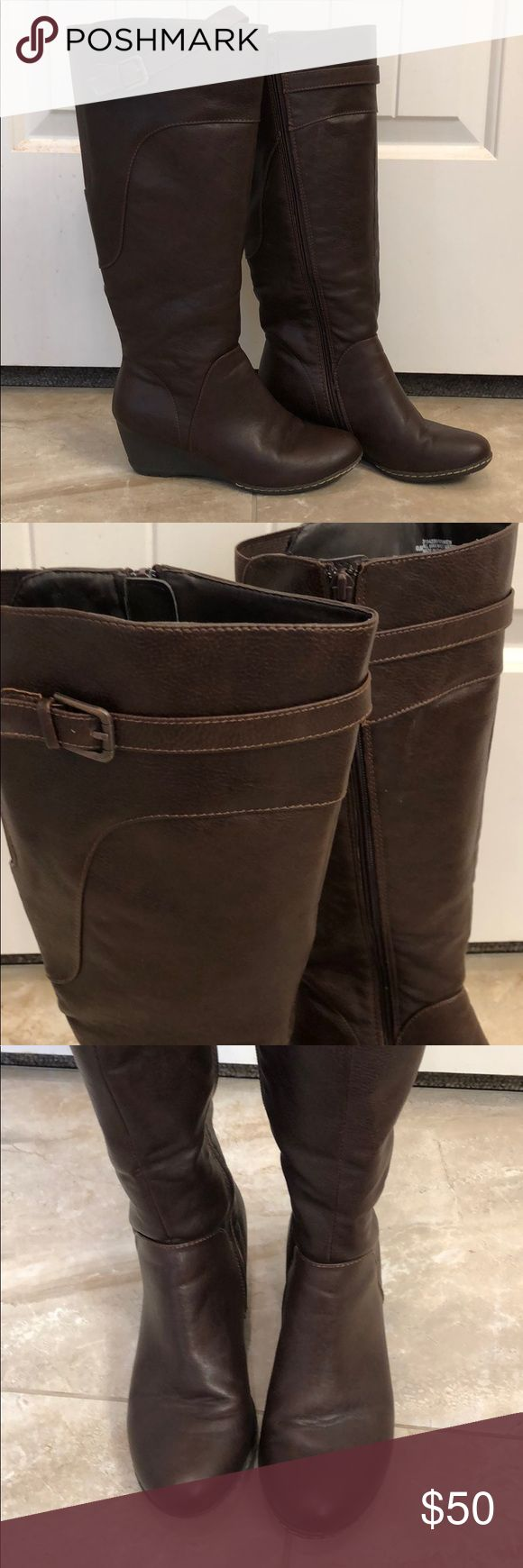"""Sofft Wedged Boots Dark brown, wedged boot Only worn once 😊 Wedge is 2"""" Inside zip Calf elastic in back Total length - 16.5"""" Nice soft sole 👍 Sofft Shoes Heeled Boots"""