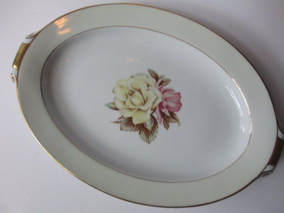 Serving Platter Vintage Narumi Yellow Rose by thechinagirl on Etsy