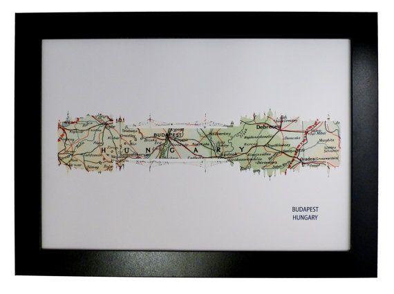 Budapest City Hungary Skyline Print with by DragonTreeStudio, $12.00