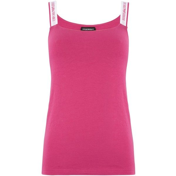 Emporio Armani Visibility stretch cotton vest top ($43) ❤ liked on Polyvore featuring tops, fuchsia, women, camisole tops, pink cami top, pink camisole, camisole tank top and cami tank