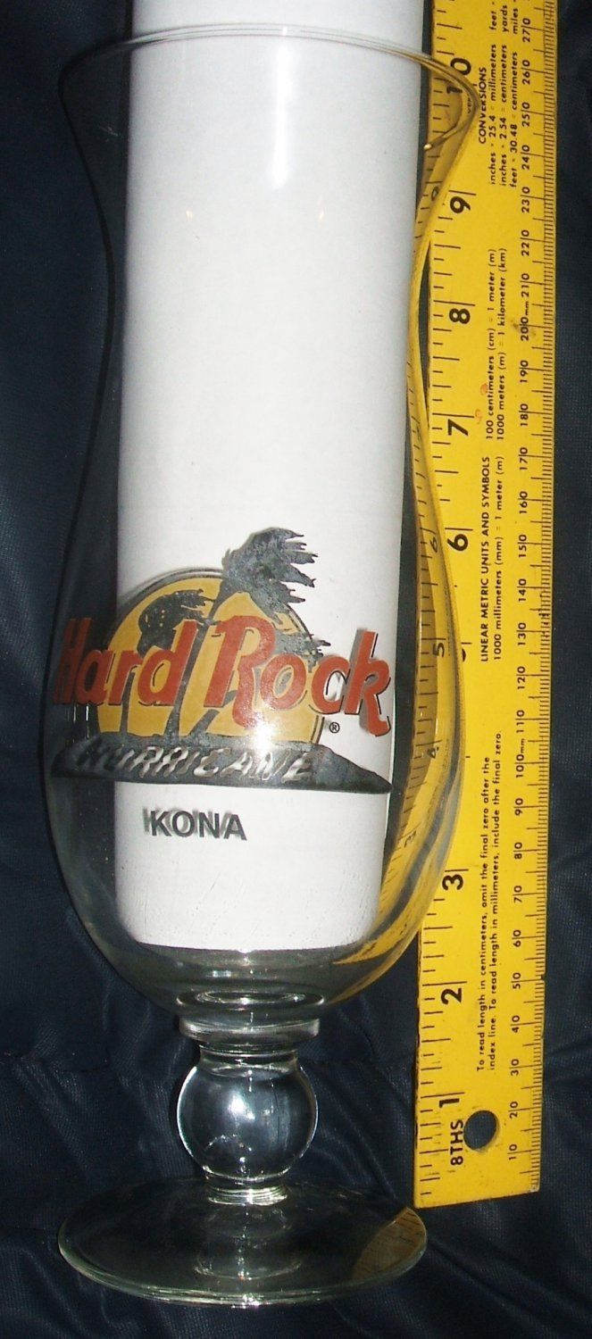 Hard Rock Cafe #Kona #Hawaii Hurricane Glass Closed Restaurant #Barware Glassware