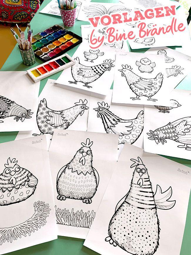 Die Verruckten Huhner Bines Shop Lustiges Huhn Ostern Zeichnung Hasen Basteln