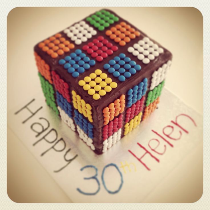 80's party Rubik's cube cake