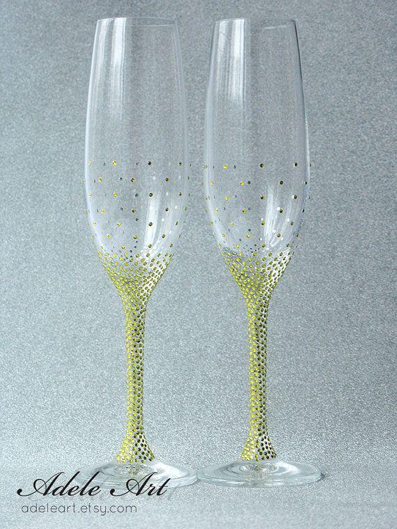 Yellow rhinestones Pesronalized Champagne Wedding by Adeleart