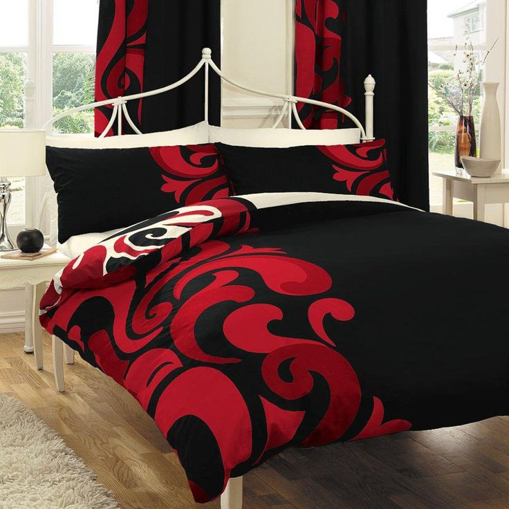 black and red bedding sets | Red Black White Comforter Sets