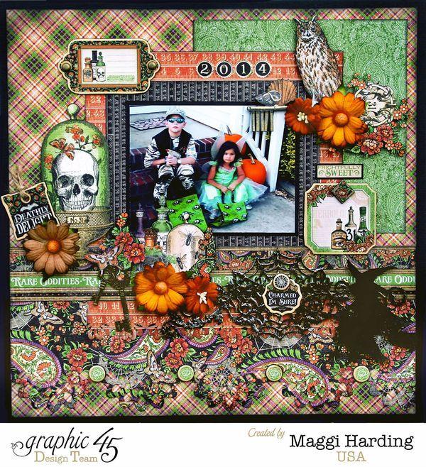Halloween layout & Tutorial, Rare Oddities, Maggi Harding, Graphic 45