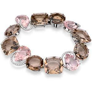 Brumani Candy Rosé Bracelet in White Gold With White Diamonds and Smoky and Pin...