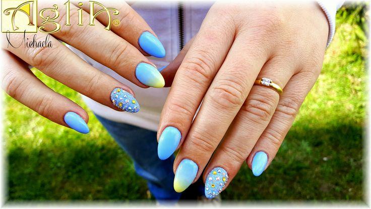 Blue ombre nails, Swarovski nails