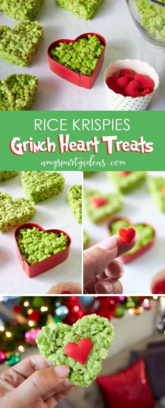 Rice Krispies Grinch Heart Treats |Have a Holiday Family Movie Night | SImple party ideas for movie night at home from AmysPartyIdeas.com | #TidingsAndTreats #ad | FREE Printables Grinch Movie