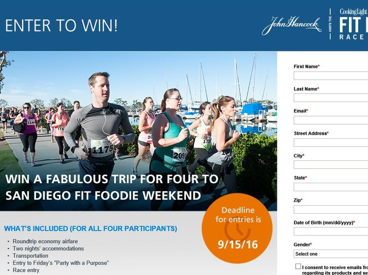 Enter The John Hancock Life Insurance Company Fabulous Fit Foodie Giveaway Weekend Sweepstakes for a chance to win a 2-night trip for four to San Diego, CA!