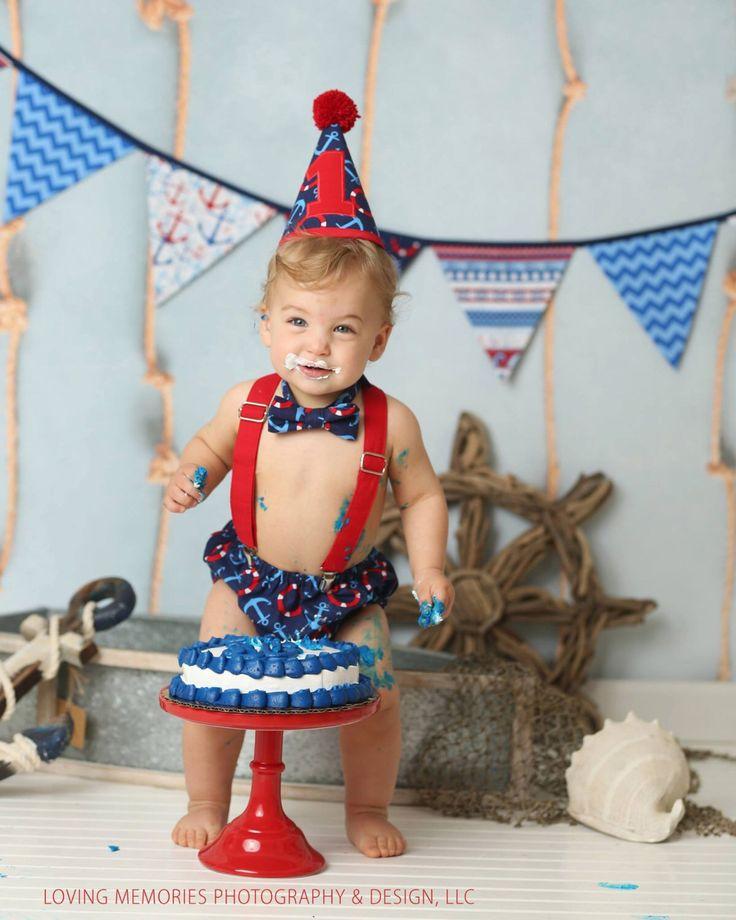 Boy Cake Smash Outfit, Anchors Cake Smash, Coastal Cake Smash Outfit, Nautical Birthday, Boys 1st Birthday, Birthday Outfit, Photo Prop by MyOrangeDreams on Etsy https://www.etsy.com/listing/400143085/boy-cake-smash-outfit-anchors-cake-smash