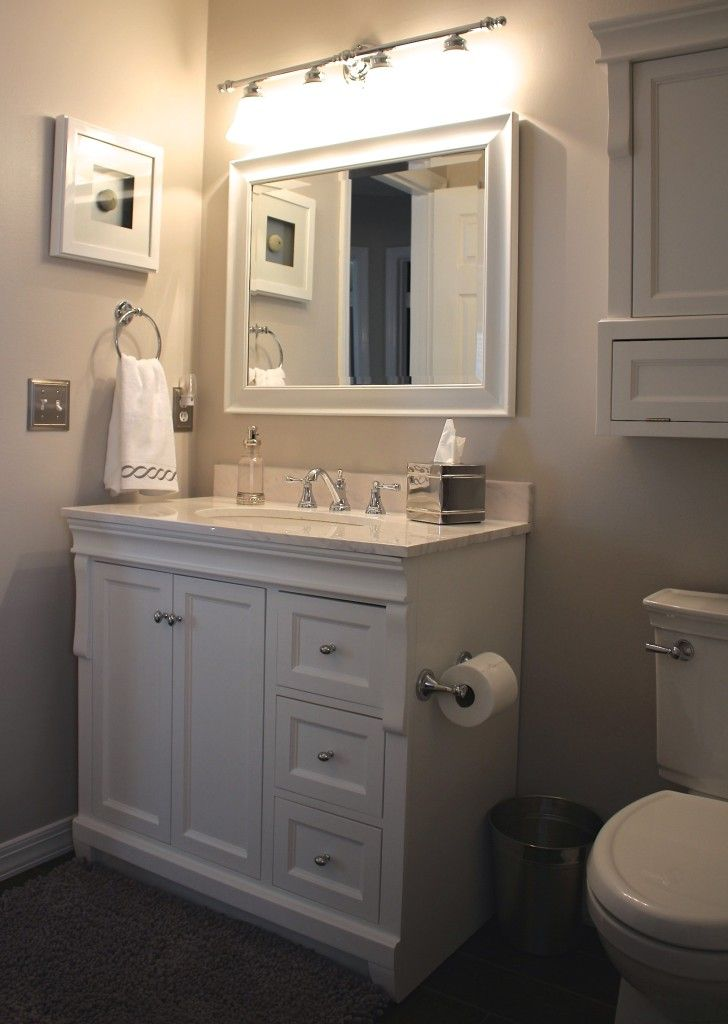 Our small bathroom makeover new wood look tile vanity for Looking for bathroom accessories