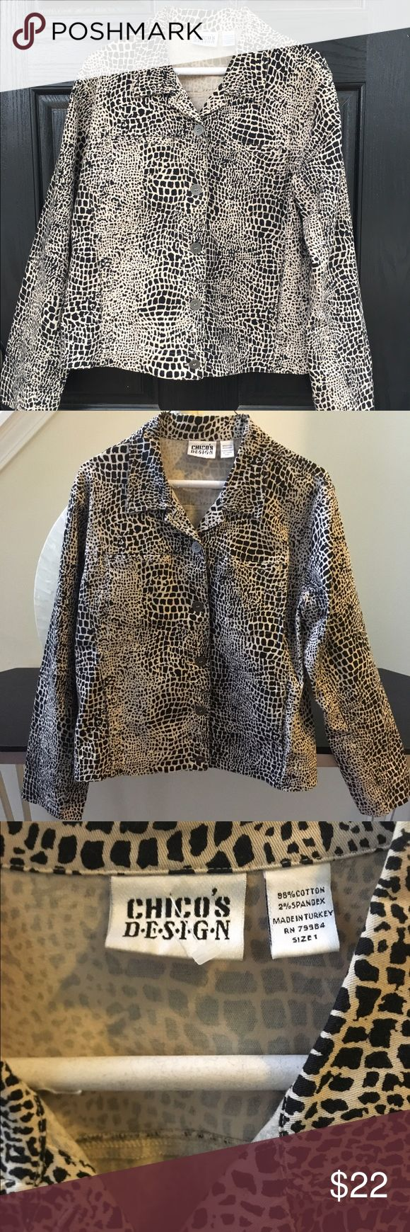 Chico's leopard print shirt jacket In excellent condition! Like new!  Leopard print button up jacket or shirt. Soft, but sturdy. 98% cotton. Chico's size 1 which is equivalent to a medium or 8/10. Thanks for looking.💕 Chico's Jackets & Coats