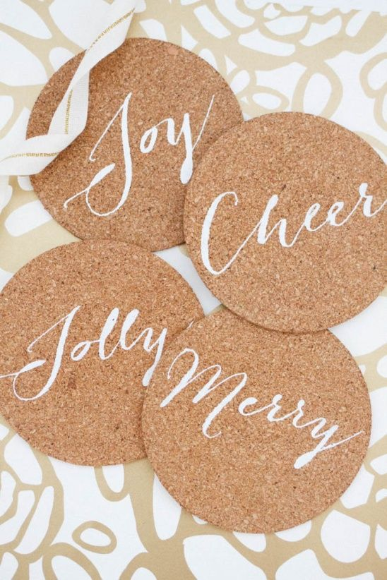 I'm sharing the tutorial to make these holiday cork coasters on my blog.