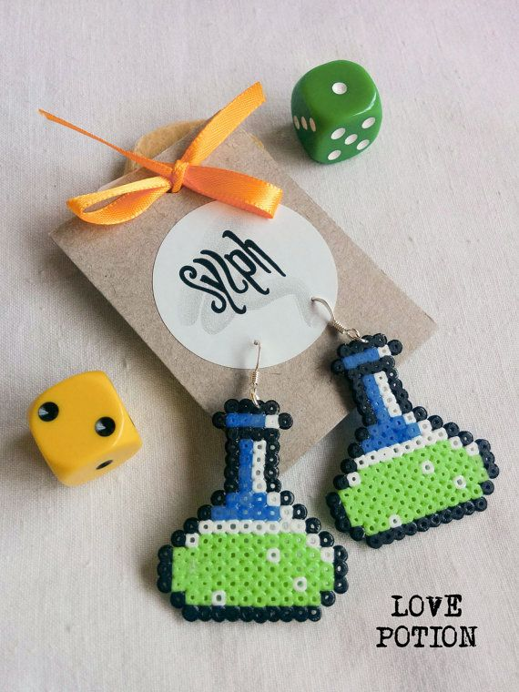 Light green chemistry vial Love Potion earrings by SylphDesigns