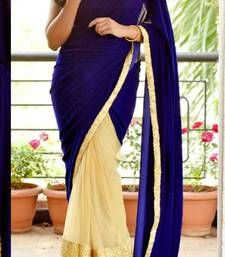 Buy blue & chiku embroidered velvet saree with blouse other-actress-saree online